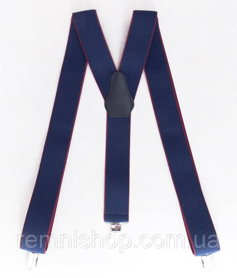 Мужские подтяжки синие-бордовые