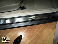 Накладки на пороги Subaru OUTBACK II 2000-2004 / Субару Аутбек premium Nataniko, фото 1