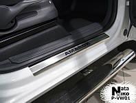 Накладки на пороги Volkswagen AMAROK 2010- / Фольксваген  Амарок premium Nataniko, фото 1
