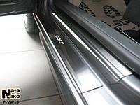 Накладки на пороги Volkswagen GOLF VI 5D 2008- / Фольксваген  Гольф premium Nataniko, фото 1