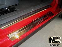 Накладки на пороги Volkswagen JETTA V 2005-2010 / Фольксваген  Джетта premium Nataniko, фото 1