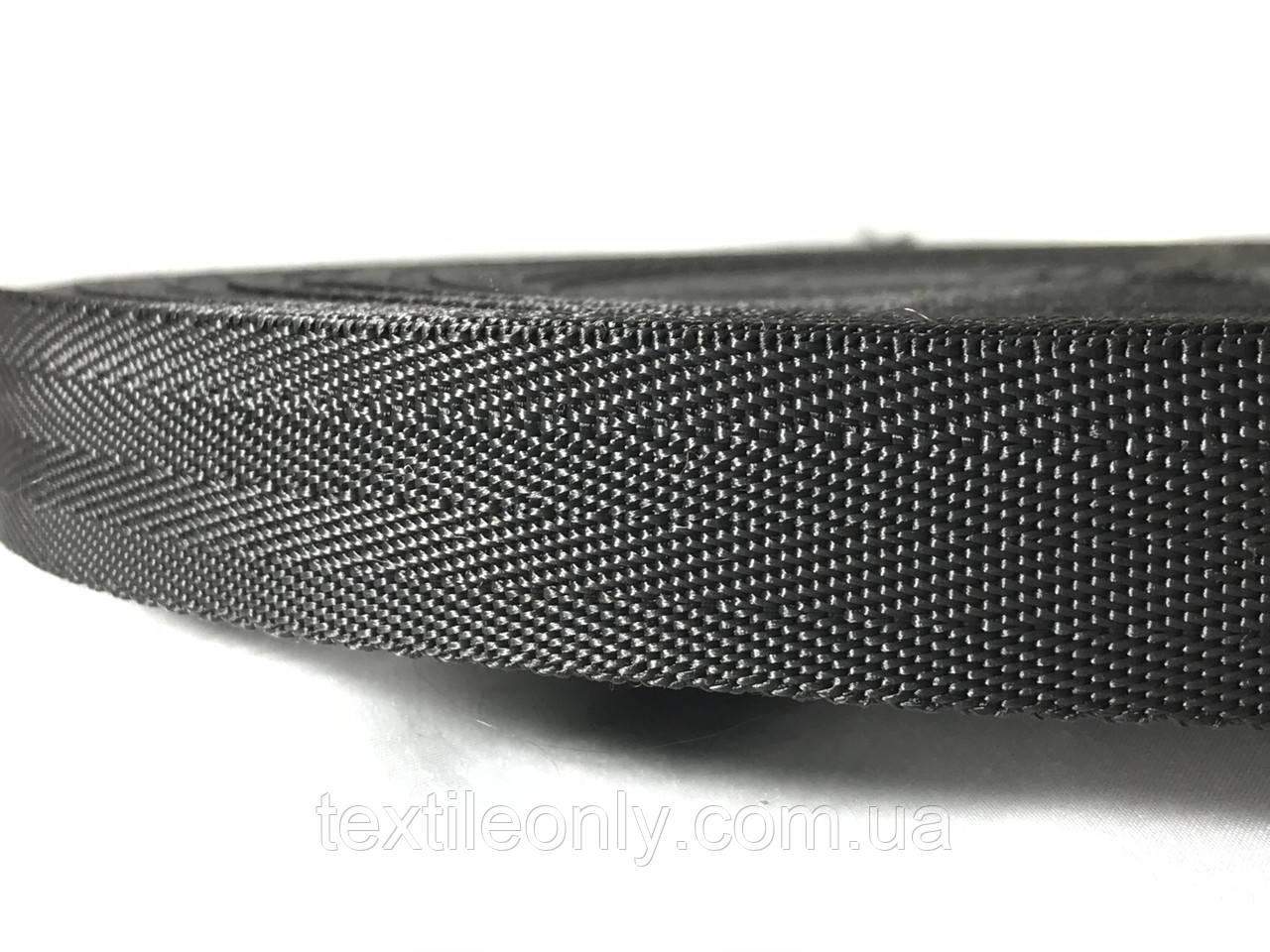 Тесьма сумочная ёлка цвет черный 25 мм