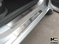 Накладки на пороги Volkswagen POLO V 4-5D 2009- / Фольксваген  Поло premium Nataniko, фото 1