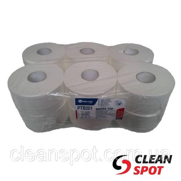 Туалетная бумага джамбо белая 2-шар 180 м PTB201 гладкая