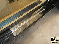 Накладки на пороги Volkswagen TOUAREG 2002-2009 / Фольксваген  Туарег premium Nataniko, фото 1