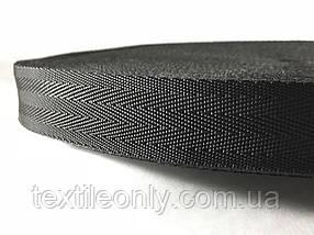 Тесьма сумочная ёлка цвет черный 30 мм