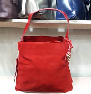 Женская красная замшевая сумка-тоут