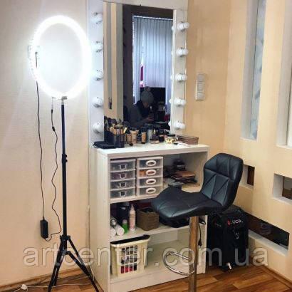 Робоче місце перукаря, візажиста, туалетний стіл з гримувальних дзеркалом, дзеркало з підсвічуванням