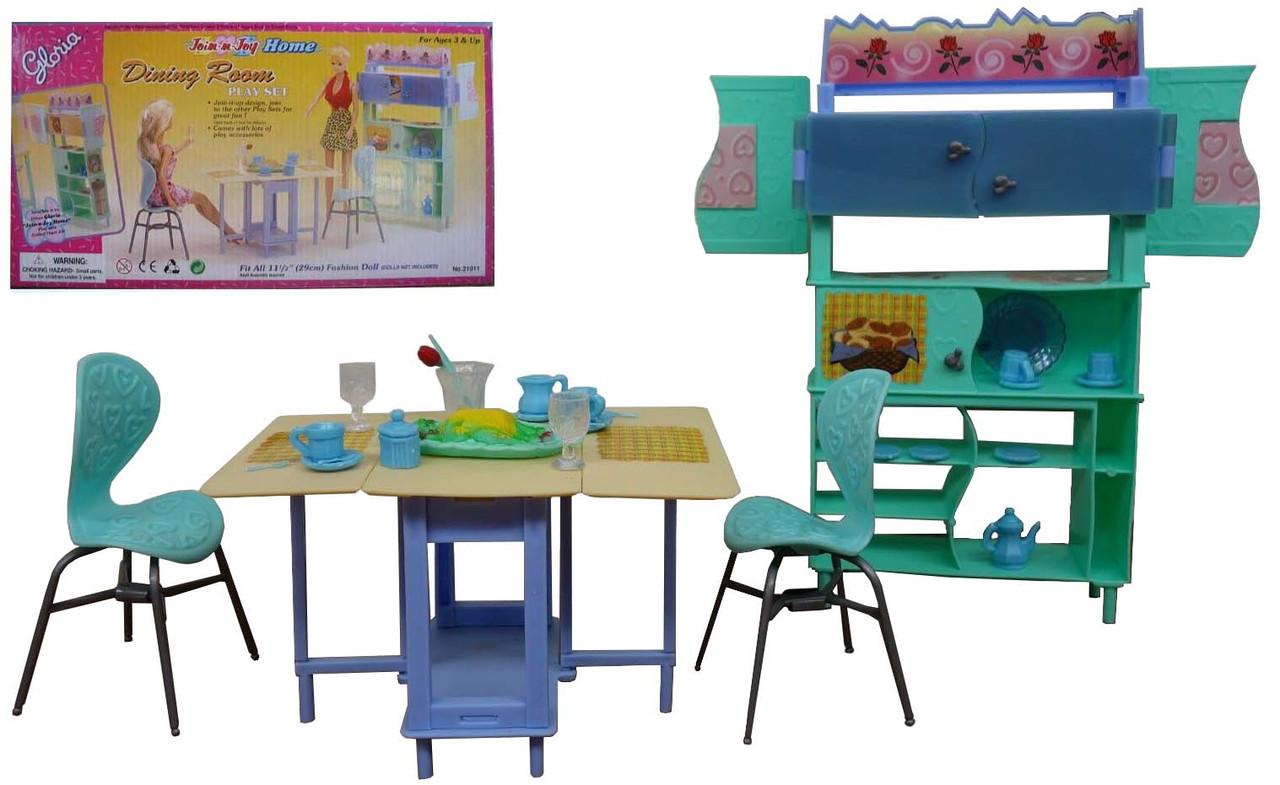 """Мебель """"Gloria"""" для столовой, стол, стулья, буфет, посуда,в кор.32cm*17*7cm /36-3/"""