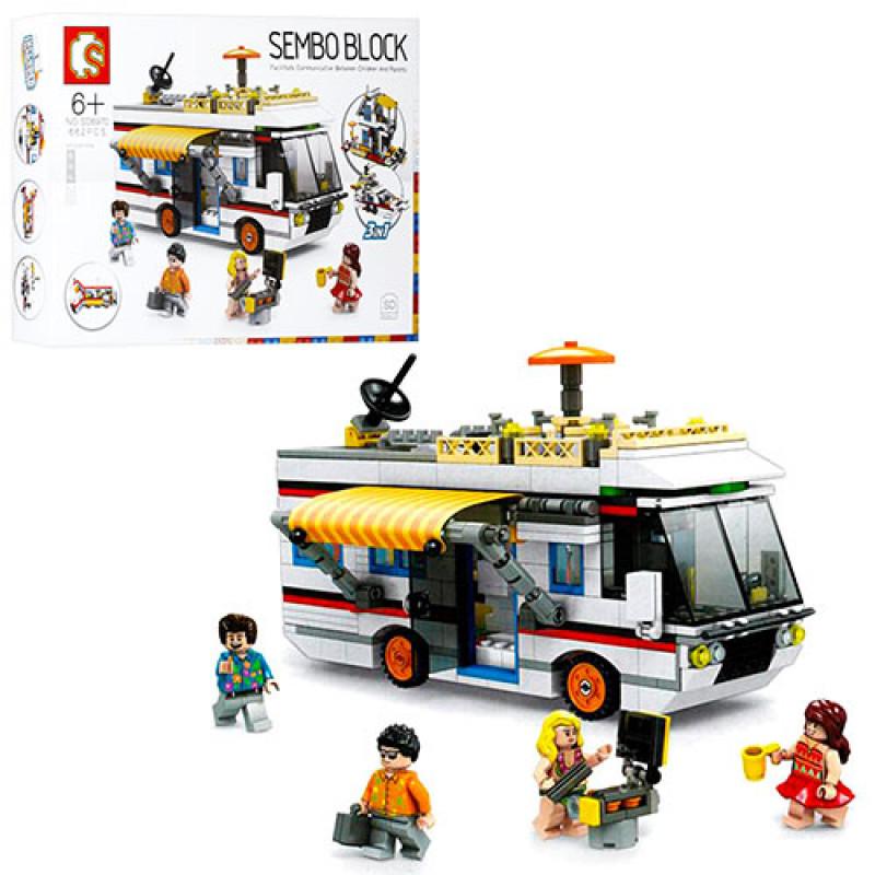 Оригинальный Конструктор типа лего 3 в 1 Автобус, катер, дом, фигурки, 662 детали, SD6970