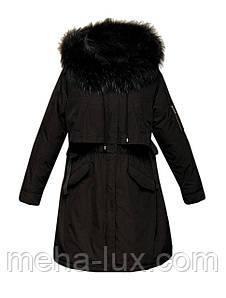 Пуховик-парка средней длинны черного цвета