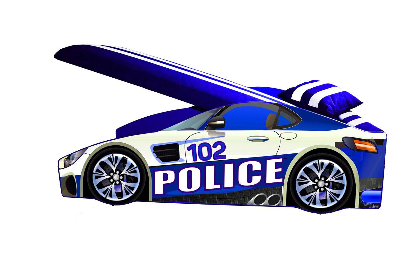 Детская кровать Elit E-8 Police с подъемным механизмом 80х170 синяя