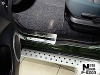 Накладки на пороги Suzuki Grand Vitara II 5D 2005- premium, фото 1