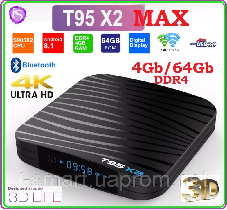 T95X2 MAX Android tv  4гб DDR4 / 64gb LAN USB+AV+ПУЛЬТ+НАСТРОЙКИ I-SMART