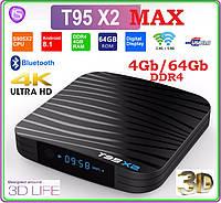 T95X2 MAX Android tv  4гб DDR4 / 64gb LAN USB+AV+ПУЛЬТ+НАСТРОЙКИ I-SMART, фото 1