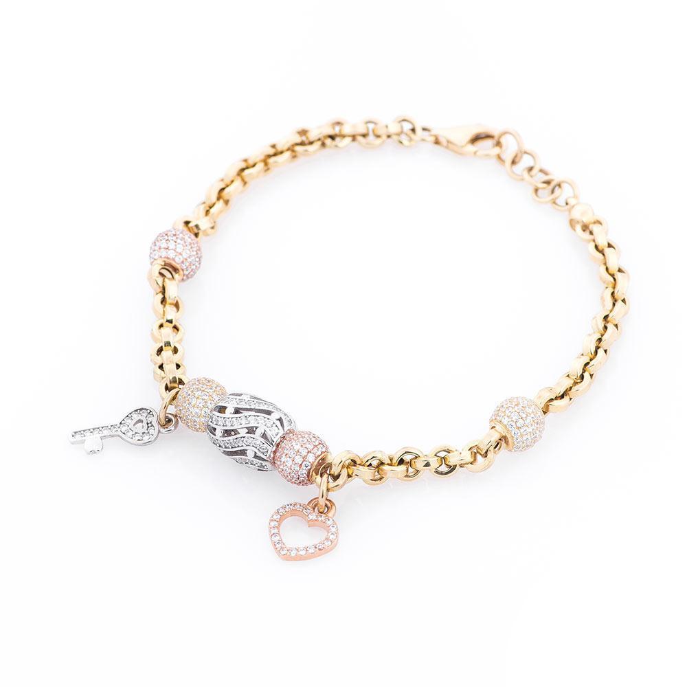 Золотий браслет з підвісками гб02387