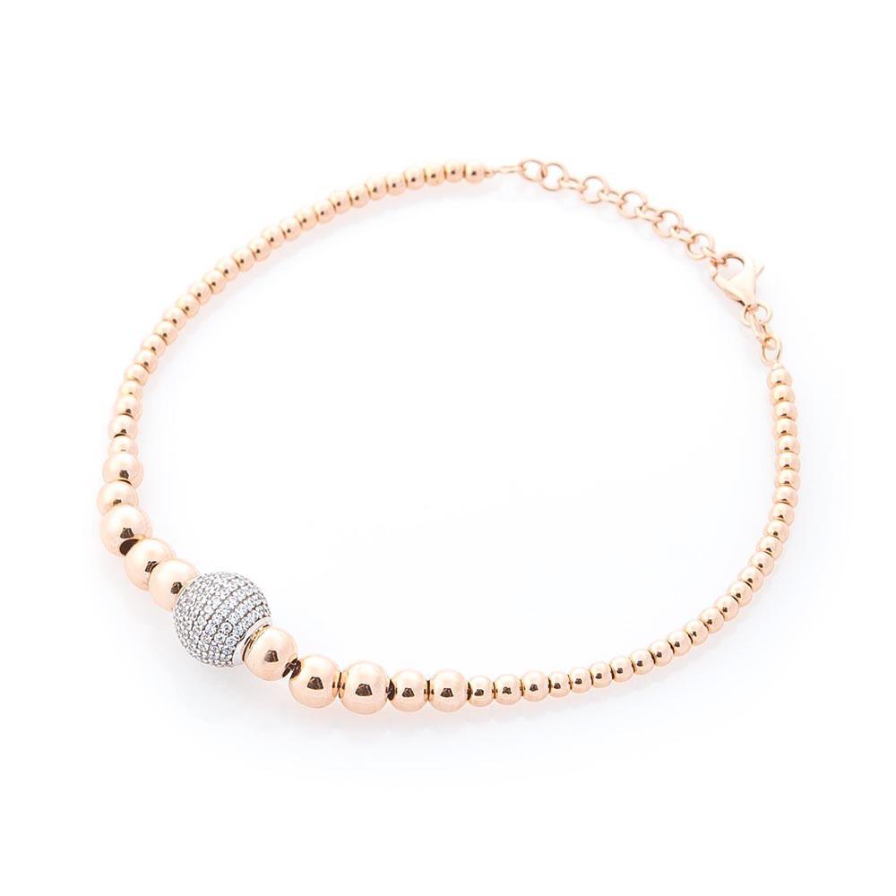 Золотой браслет с шариками (фианиты) гб03586