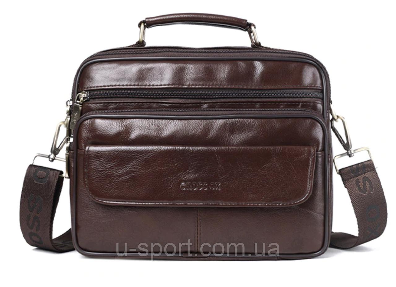 5f45e5a8295f Мужская кожаная сумка Ox Bag Big Flap (коричневая, натуральная кожа) -  Спортивный интернет