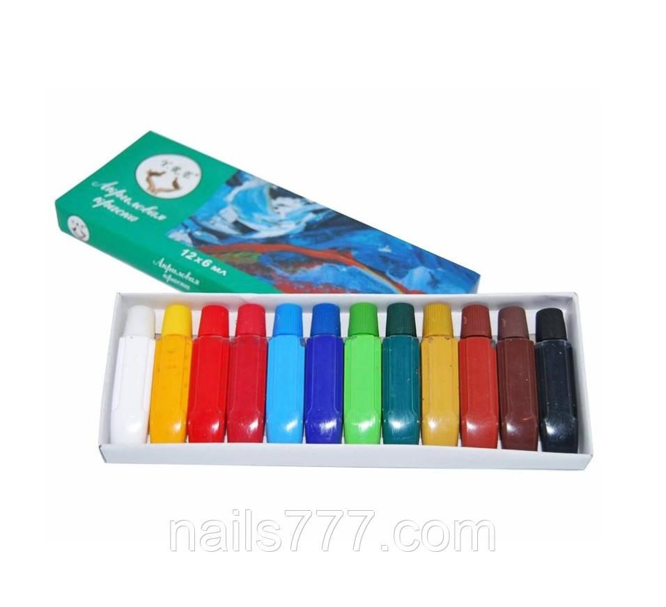Акриловые краски для дизайна ногтей  YRE ,набор 12 шт,6мл