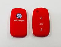 Силіконовий чохол на ключ 3 кнопки Volkswagen червоний