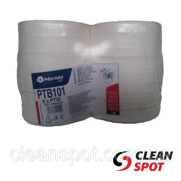 Туалетная бумага джамбо белая 2-шар 245 м PTB101 гладкая