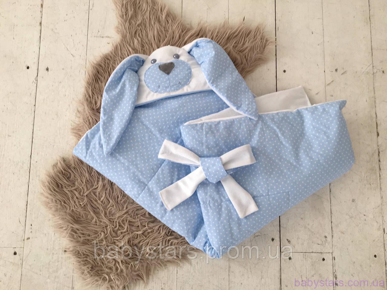 """Плед конверт для новорожденного на выписку серии Зверята, """"Мамина зайка"""" (однослойный) голубой"""