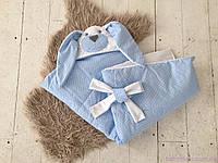 """Плед конверт для новорожденного на выписку серии Зверята, """"Мамина зайка"""" (однослойный) голубой, фото 1"""