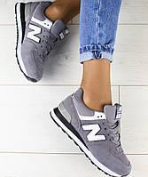 Стильные замшевые женские кроссовки кеды серые NewBalance белые кожаные  вставки F54JK01-1FS 39c6cc4d5ee