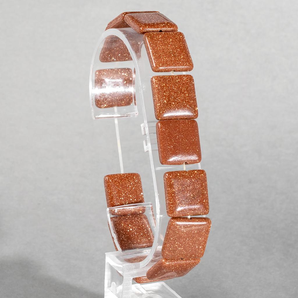 Авантюрин золотой песок, 14*14 мм., браслет, 137БРА