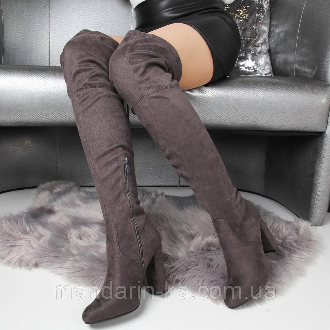 Женские демисезонные  ботфорты серые, фото 1