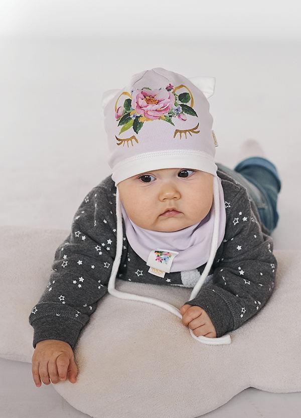 Детская шапка ФЛОРА (набор) для девочек оптом размер 42-44-46