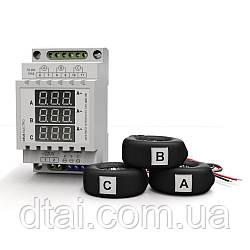 Амперметр трехфазный переменного тока цифровой на DIN-рейку АМ3-100 (220В, 0-100А)