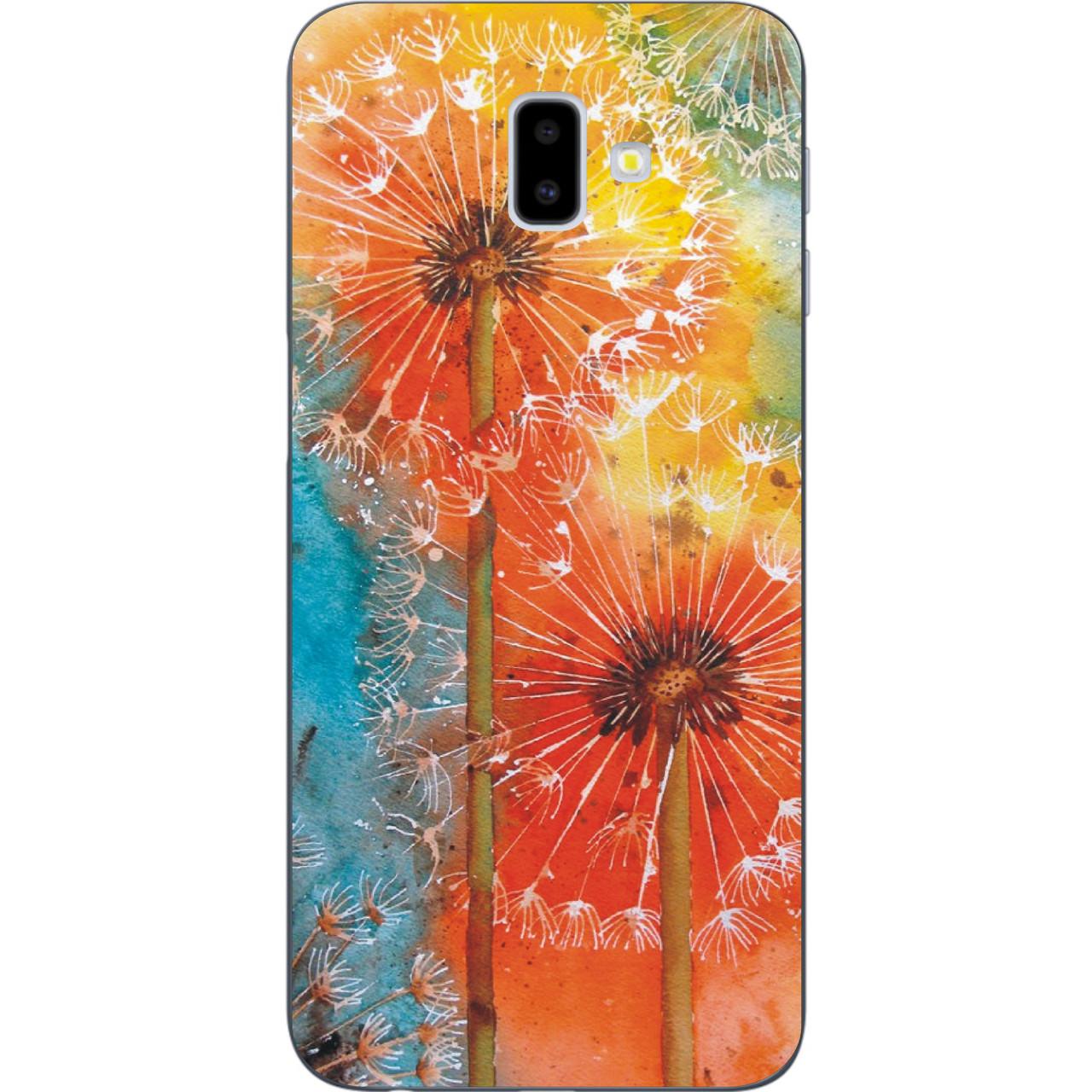 Бампер силиконовый чехол для Samsung Galaxy J6 Plus 2018 с картинкой Одуванчики