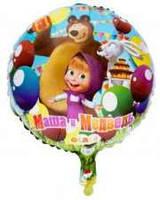 """Воздушные шарики оптом. Шарик фольгированный """"Маша и Медведь"""" диаметр 15см"""