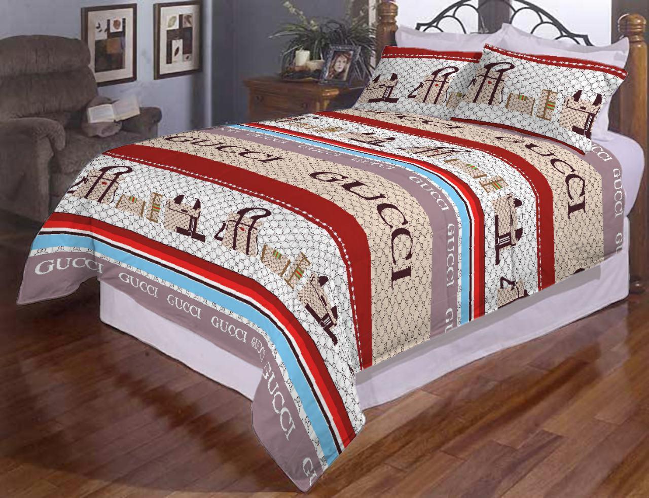 Комплект двуспального постельного белья Гуччи полоска