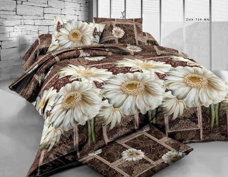 Комплект двуспального постельного белья Белые ромашки