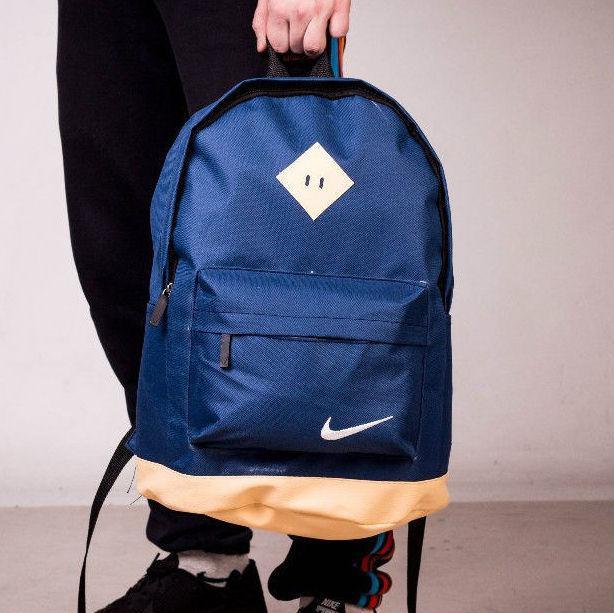 Рюкзак спортивный, городской. NIKE синий с бежевым. Найк. Кож дно, фото 1