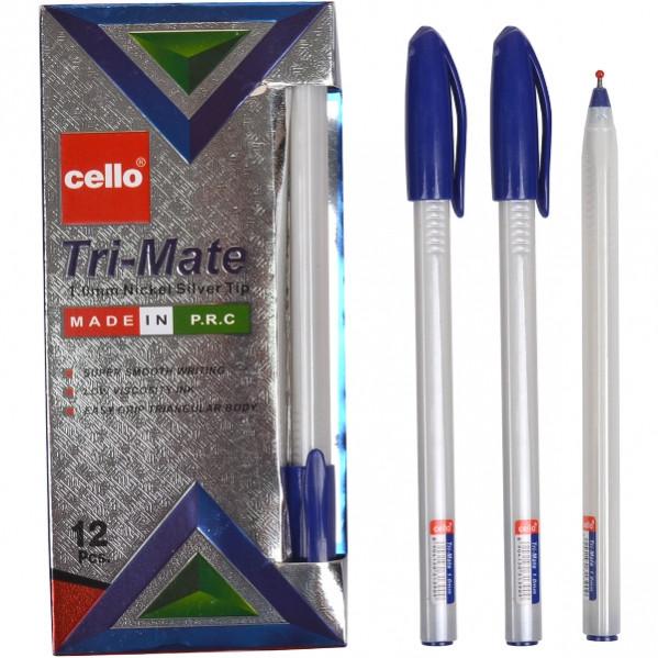 Ручка масляная «Tri-Mate» Cello  синяя 1 упаковка (12 штук)                          CL-1779