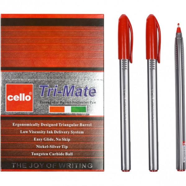 Ручка масляная «Tri-Mate» Cello красная 1 упаковка (50 штук)