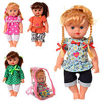 Кукла 5513-14-15-16 (36шт) 27см,муз-звук(укр),песня,стих-счет,4вида,на бат(таб),в рюкзаке,16-20-12см