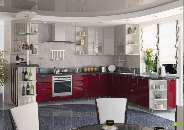 Кухня София Люкс фасад-верх Серый/фасад-низ Бордо.