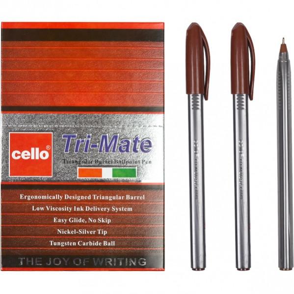 Ручка масляная «Tri-Mate» Cello  коричневая 1 упаковка (50 штук)
