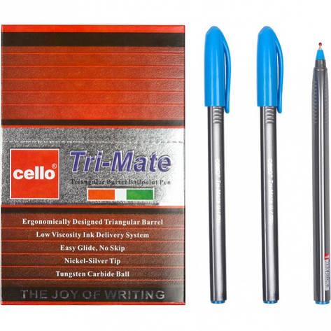 Ручка масляная «Tri-Mate» Cello  голубая 1 упаковка (50 штук), фото 2
