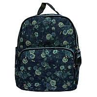 Женский джинсовый мини рюкзак. Зеленые розы. 8804, фото 1