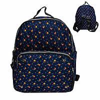 Женский джинсовый мини рюкзак. Темно синий с оранжевыми цветами. 8805, фото 1