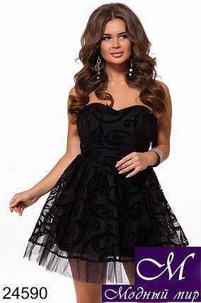 Черное платье с пышной юбкой (р. S, M, L) арт. 24590, фото 2