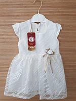 """Нарядное трикотажное  платье с коротким рукавом """"Софи""""   6, 9, 12 мес капельки  белое"""