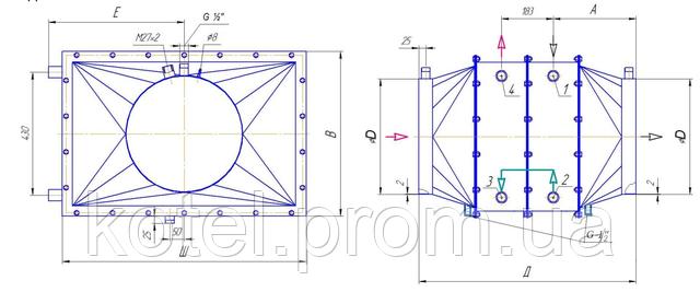 Схема и размеры утилизатора тепла УТ-5