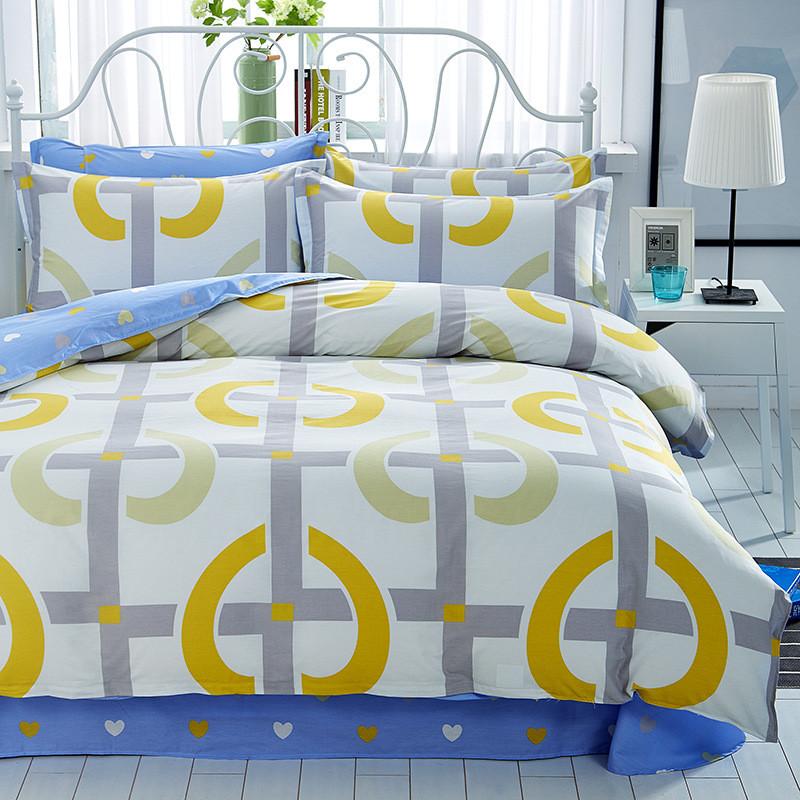 Хлопковый комплект постельного белья с  узором (двуспальный-евро)