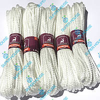 Шнур бытовой полипропиленовый вязаный. Диаметр 4 мм, длинна 20 м, набор 5 белых, фото 1